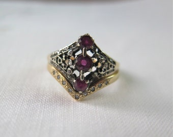 Antique Ruby Ring 14K Gold and Sterling Filigree with Diamonds Includes Gold Diamond Band Size 6 Victorian Era