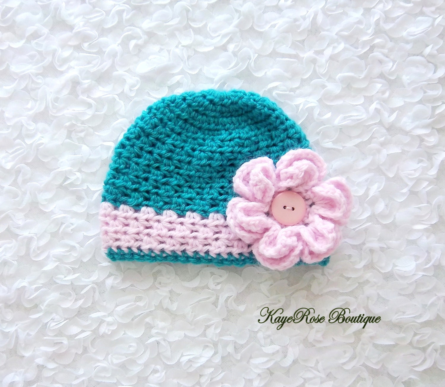 Crochet Hat Pattern For 8 Month Old : Newborn to 3 Month Old Baby Girl Crochet Flower Hat Turquoise