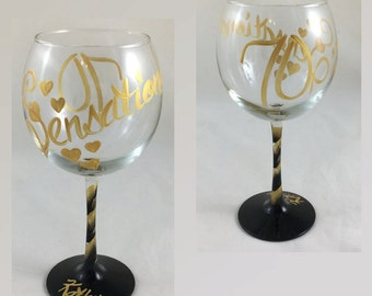 70 is Sensational - Personalized 70th Birthday Hand Painted Wine Glass
