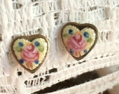Vintage Guilloche enamel Rose Earrings
