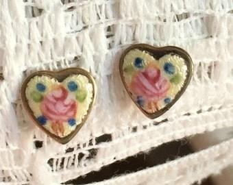 Vintage Guilloche enamel Rose Earrings