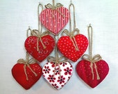 Red Heart Ornaments | Party Favors | Holidays | Bridal Wedding | Valentines Day | Set/6 | Tree Ornament | Handmade | Christmas |  #1