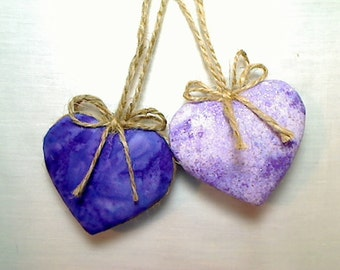 Purples/Lavender Heart Ornaments | Party Favors | Bridal/Wedding | Valentine's Day | Tree Ornament | Birthday | Set/2 | Handmade |  #2