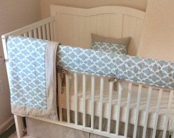 Washed Linen and Light Aqua Gray Quatrefoil Gender Neutral Baby Bedding Crib Set