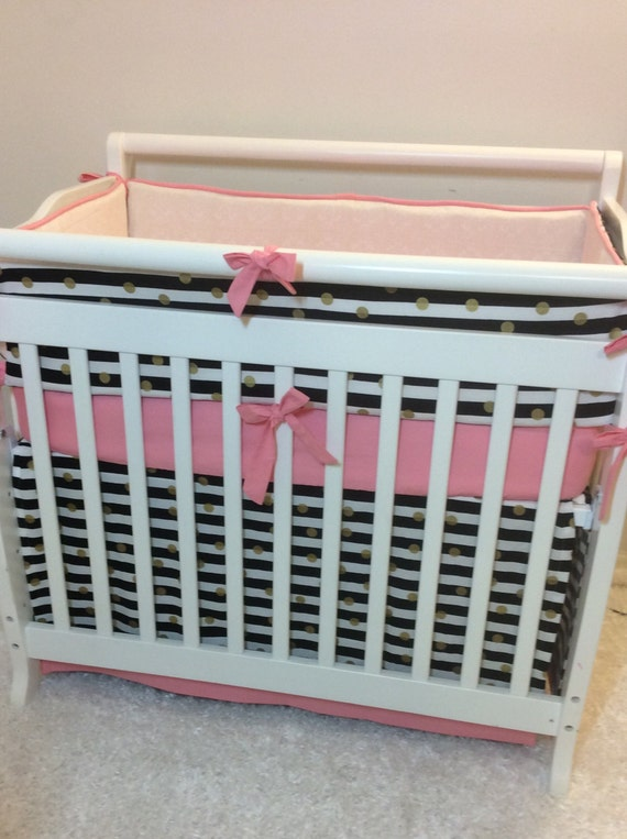 baby girl mini crib bedding coral pink black and gold made to. Black Bedroom Furniture Sets. Home Design Ideas