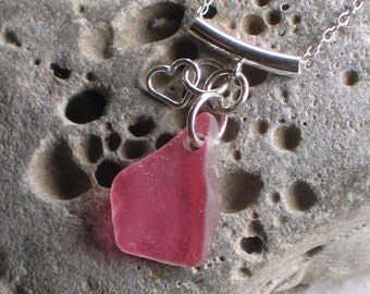 Pink Multicolor Sea Glass Sterling Silver Pendant Necklace  (735)