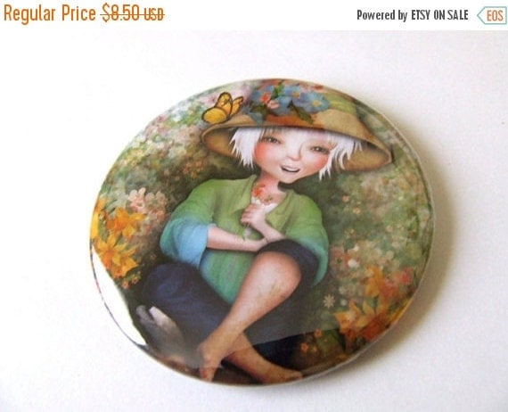 SUMMER SALES EVENT Betty in her Garden Pocket Mirror Made From Original Artwork with Organza Bag 2 1/4 inches