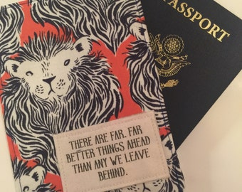 "Passport Wallet, ""there are far far better things ahead than any we leave behind"" c.s. Lewis, lions,  Passport Case Passport Cozy, Travel Ac"