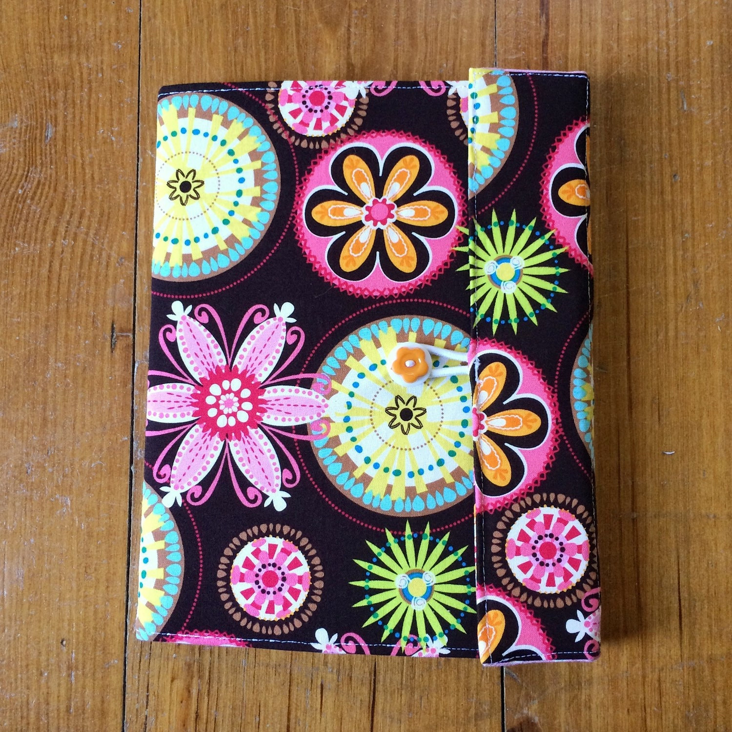 Reusable Fabric Book Cover ~ Fabric book cover carnival bloom reusable covered