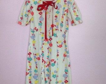 Vintage 1930s Floral Dress/ XS S