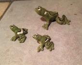Three Tiny Ceramic Frog Figurines