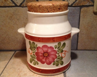 Rose Daisy Ceramic Canister with the Cork Top