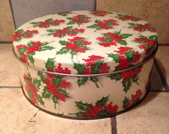 Holly Christmas Tin Box