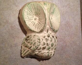 Aqua and Gold Plaster Owl Plaque