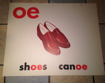 oe shoes Large Classroom Phonics Teaching Poster Card
