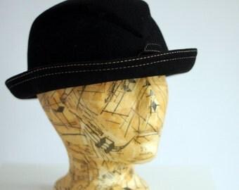 Anita Pineault wool felt black hat fedora with white topstitching