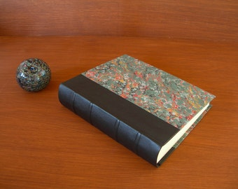 Leather spine photo album - forest green with French marbled paper  8x10 in. 20.5x24.5 cm.-Ready to ship