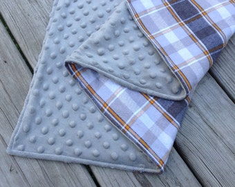 "Baby Blanket Minky and  Flannel, 30""x36"" Toddler, Crib, Plaid, Gray"