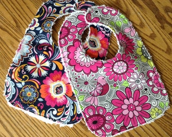 Set of Floral Baby Girl Bibs, Chenille Back, Snap Closure, ready to ship