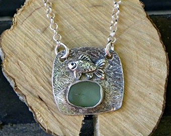 Fine silver necklace with fish and genuine sea glass
