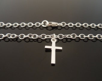 "3mm 925 Sterling Silver Bracelet Or Ankle Chain Anklet With Cross Charm 6"" 7"" 8"" 9"" 10"" 11"""