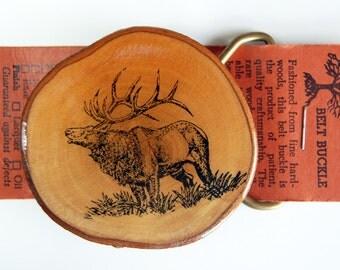 Wood Slice Elk Belt Buckle, Vintage Rustic Belt Buckle, Raw Edge Wood Belt Buckle with Brass Hardware, Yellowstone Souvenir wt/ Original Tag