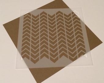 Square 5 inch stencil - Chevron 3