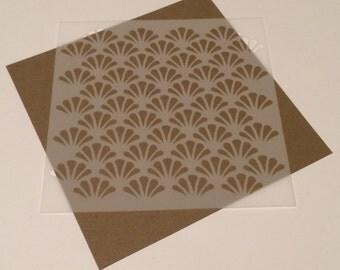 Square 5 inch stencil - Scallop 2