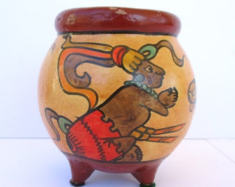 Vintage Mayan Small Hand Painted Tripod Pottery Vase Bowl Reproduction Clay Mexican Tribal Ceramic Vessel