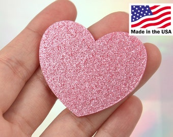 Heart Cabochons - 45mm Light Pink Glitter Heart Acrylic or Resin Cabochons - 4 pc set