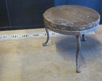 Vintage 3 legged Milking Stool--Primitive Barn Relic--Rustic Farm Stool Round Rough Hewn Wooden Seat--Salvage Milk Stool w/ Industrial Flair