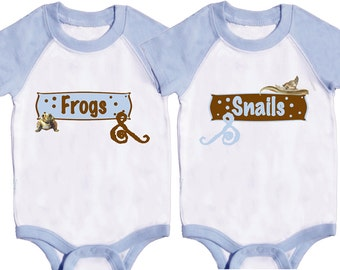 Twin Boys Bodysuits Twin Outfits Light Blue rompers  Frogs and Snails Boy Creepers by Mumsy Goose