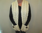 Cream Hand Knit Scarf With Pockets