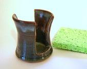 Blue Sponge Holder Ceramic Holder for Kitchen or Bathroom Sink, Denim Teal Pottery