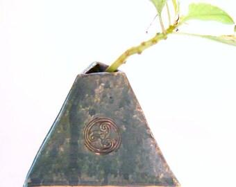 Celtic Knot - Pyramid Vase - Irish Design - Teal Blue - Green Stoneware Pottery - Gift for Him - Saint Patrick