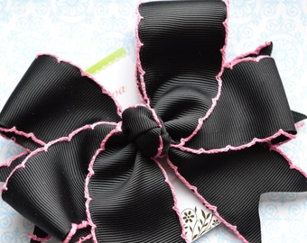Black with Light Pink Crochet Edge XL Diva Bow