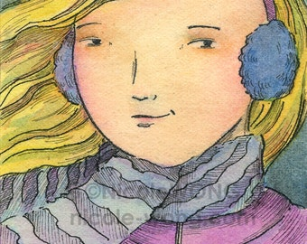 Original ACEO Painting -- Cold days