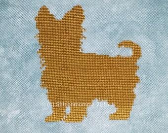 15004 Yorkshire Terrier (Yorkie) Dog Silhouette - Original Design Cross Stitch PDF Pattern - DIGITAL DOWNLOAD