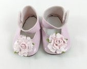 """Fits American Girl Doll Shoes for 18"""" Dolls Embellished Mary Jane Shoes Pink with Pink Roses Doll Accessories"""