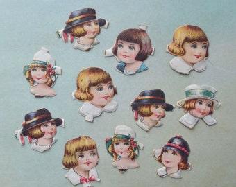 Vintage Miniature Doll Head Victorian Scraps Lot of 11 pc