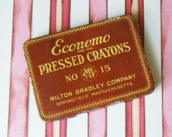 Vintage Economo Pressed Crayons Milton Bradley No. 15 Tin Box #8231 with 8 Crayolas