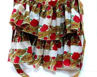 Vintage 2 Tier Ruffled Apron Bright Fiesta Print Cotton 1960s