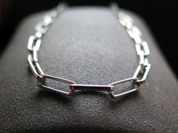 Mens Necklace Stainless Steel Jewelry Rectangle Link Silver