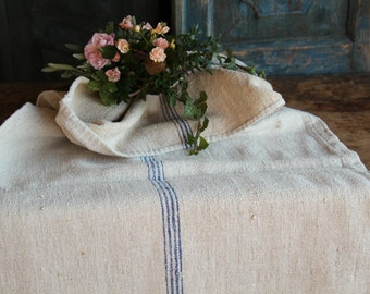 Nr. A465 : grain sack,  antique linen; WATER  BLUE;  pillow benchcushion;  wedding decoration; christmas, thanksgiving; gift bag