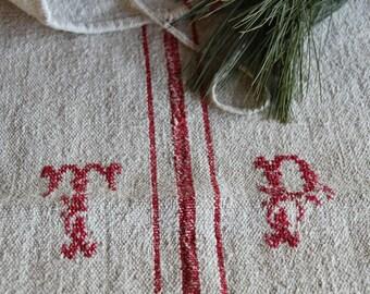 c 722: grainsack,  antique linen; FESTIVE CHRISTMAS RED;  pillow benchcushion;  wedding decoration; christmas, thanksgiving; gift bag
