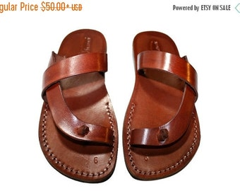 15% OFF Brown Earth Leather Sandals for Men & Women - Handmade Sandals, Leather Flats, Leather Flip Flops, Unisex Sandals, Brown Leather San
