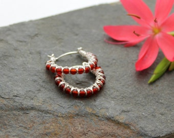 Kiss Kross Hoop Earrings - Red Agate and Sterling silver wire hoop earrings