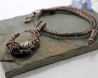 Joro's Bounty - Copper Viking knit necklace with Bronzite wire wrapped pendant - Reserved for Jessa