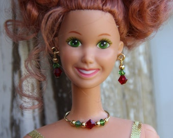 Christmas Colors Beaded Silver Necklace Fashion Doll Jewelry Set fits 11 1/2-12 inch & 1/6th Scale Female Dolls