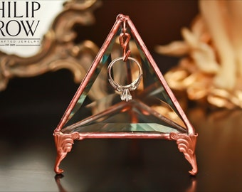 Glass Ring Holder Pyramid - Jewelry Display Case -Original Design by Philip Crow - Rustic - Wedding Engagement